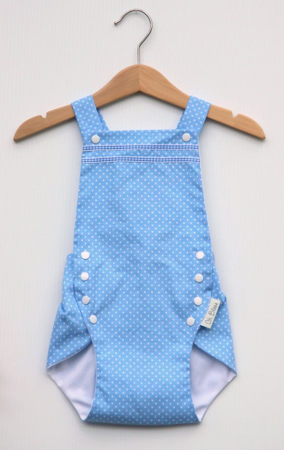 Retro vintage baby romper / sunsuit with adjustable by OhBless