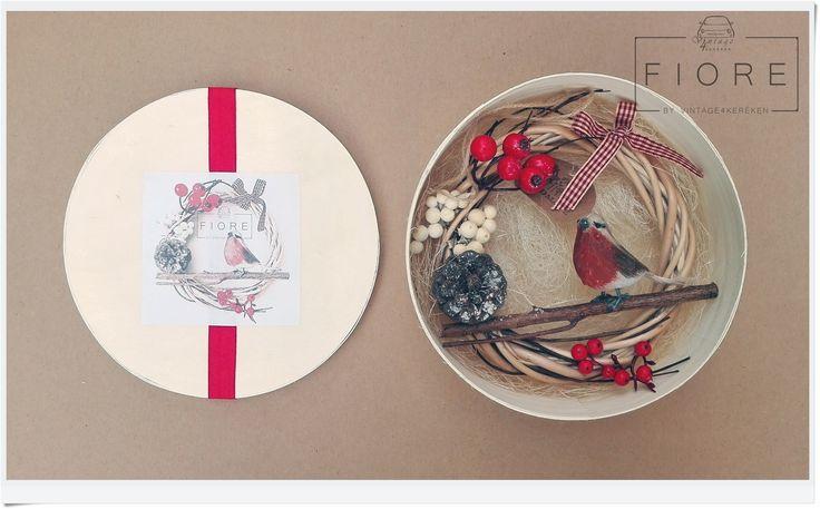 PETTIROSSO ajtódísz, koszorú, kopogtató  Robin door wreath #robin #christmas #wreath #handmade #present