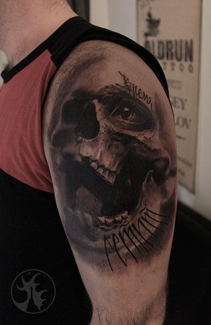 "skull tattoo череп татуировка ""время летит"""