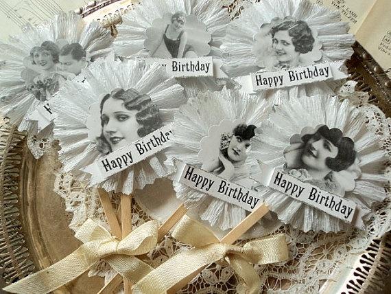 Flapper Girl Ruffled Birthday Cupcake by AmongstLovelyThings, $8.00