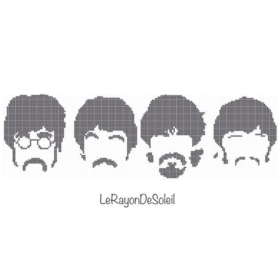 Modern cross stitch pattern 4 SMALL The Beatles silhouette on Etsy, 3,00€