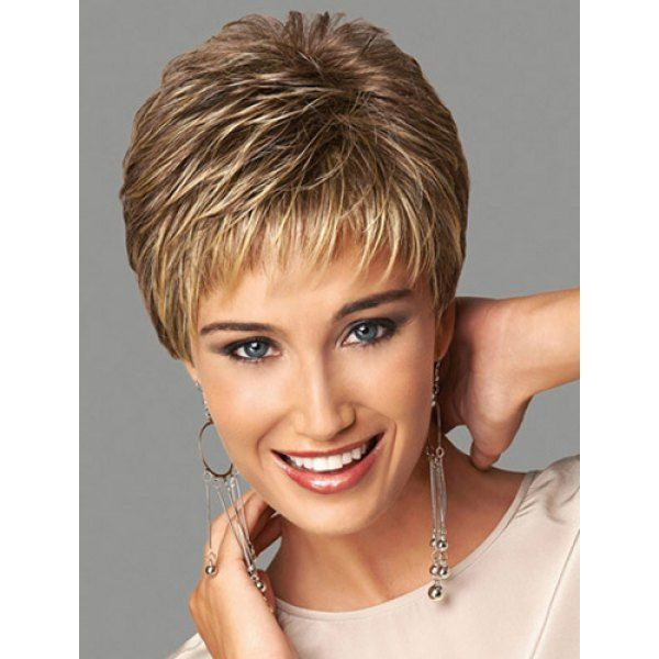 Fashion Fluffy Side Bang Blonde Mixed Brown Elegant Short Straight Synthetic Capless Wig For Women, AS THE PICTURE in Synthetic Wigs | DressLily.com