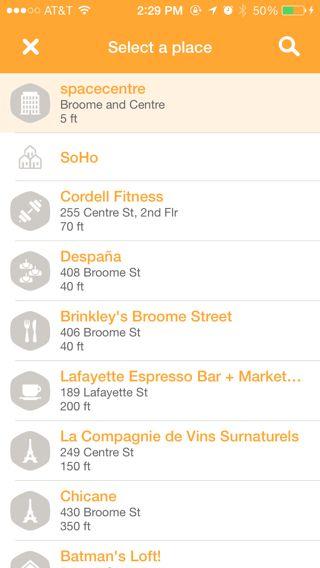 Swarm iPhone lists screenshot