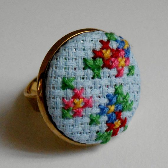 Chintz Floral Ring Hand-Sewn in Cross Stitch