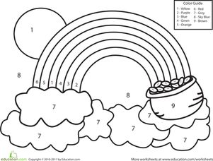 Preschool Kindergarten Color by Number Counting & Numbers Worksheets: Color by Number Rainbow