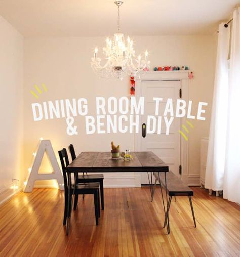 Dining Table and Bench Under $200 | Discount Dining Room Sets: Make Your Own With These DIY Projects  Read the rest here: Read the rest here: http://livingroomideas.com/diy-discount-dining-room-sets/