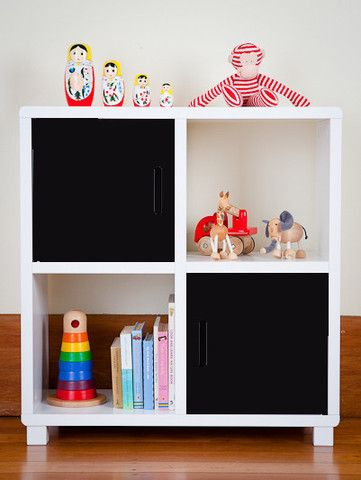 Storage Unit - Four Cubes - Black Doors - Great for storage of books etc. - Available from GummyBabies.com.au
