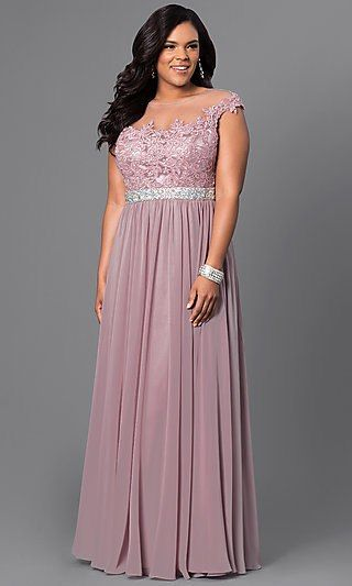 26bd4e37e9a Shop long plus-size taupe formal dresses at Simply Dresses. Lace-bodice  evening dresses under  200 with illusion necklines and jeweled waists.