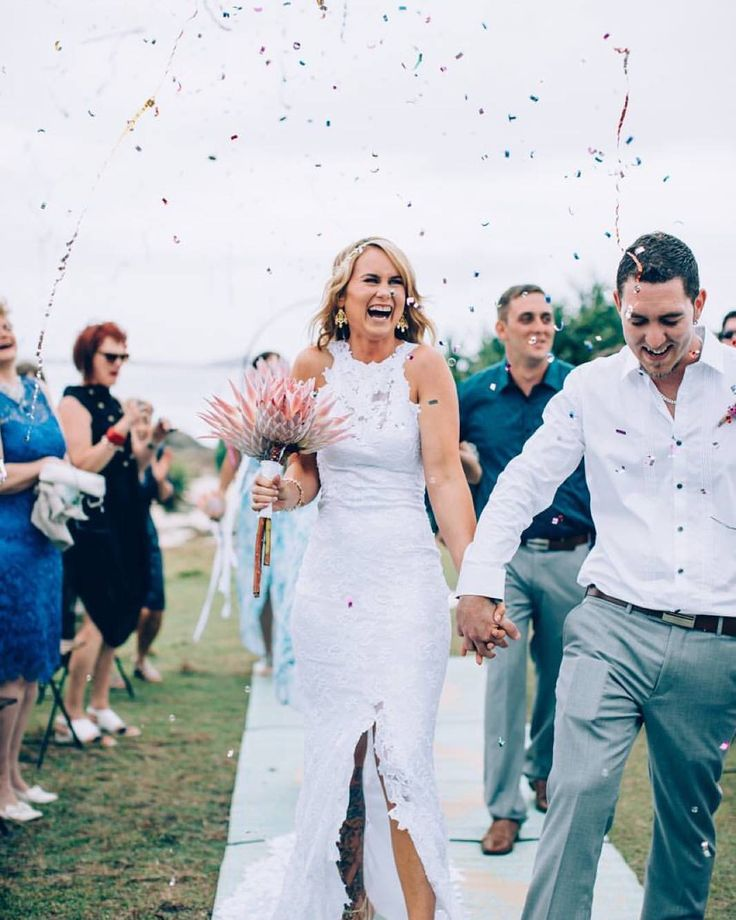 Laura & James buzzing as newlyweds under a shower of confetti last month!! Pic Images by Chantel Dress Grace Loves Lace Floral Lolas Wild Flowers Makeup Rachael Simms - Hair, Makeup and Beauty Ps. Confetti was biodegradable!