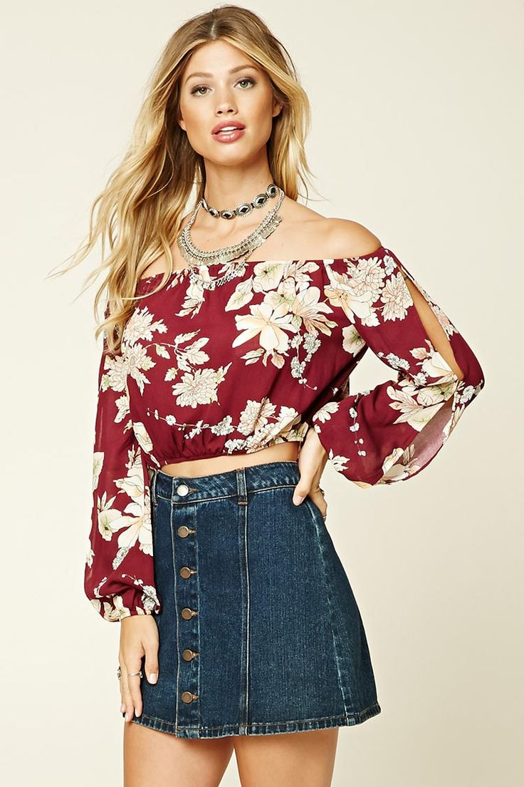 Forever 21 Floral Print Crop Top $8 - A woven crop top featuring a floral print, off-the-shoulder neckline, long sleeves with cutouts, and an elasticized waist.