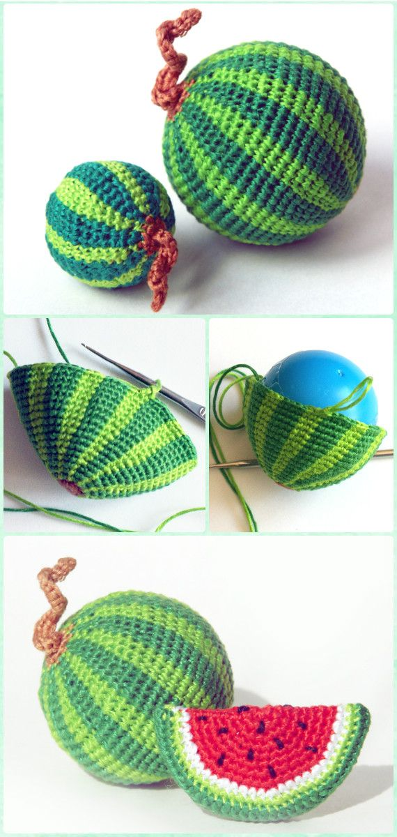 Crochet Amigurumi Watermelon Free Pattern - Crochet Amigurumi Fruits Free Patterns