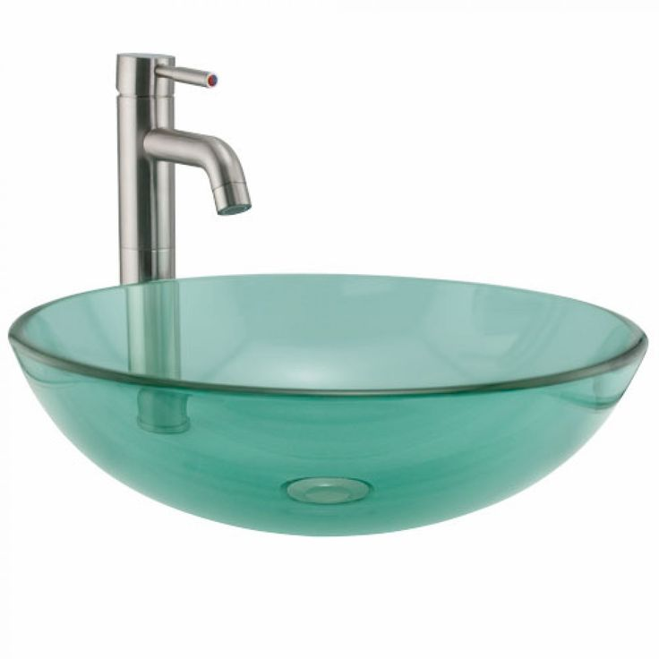 Green Glass Round Vessel Sink