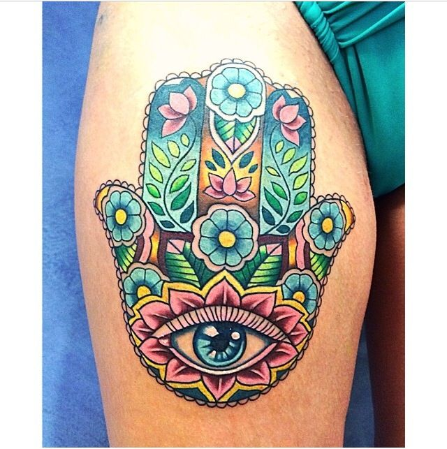 Look at this Hamsa Tattoo! An ancient symbol of protection, the Hamsa is said to protect its wearer from harm.