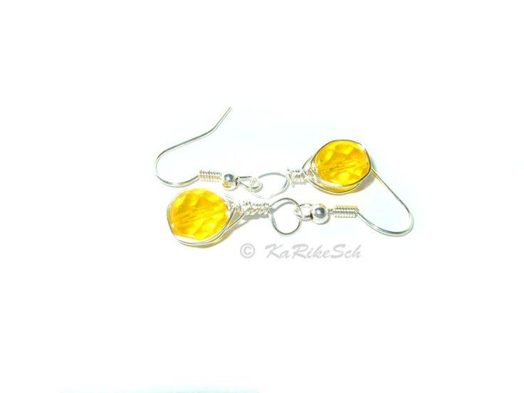 Ohrringe gelb Glasperle von KaRikeSch auf DaWanda.com
