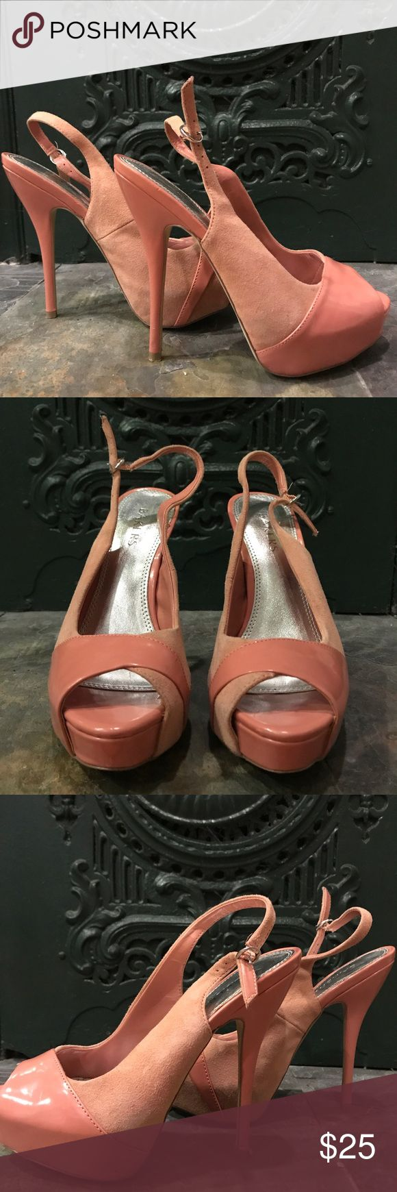 Classic Peep Toe Pumps Bakers Mystique slingback classic peep toe pump. Sued and patent leather combo. Excellent coral color. Bakers Shoes Heels