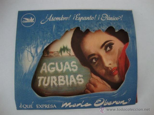 ANTIGUO FOLLETO DE MANO AGUAS TURBIAS TROQUELADO.AÑOS 40/50 CINE CAPITOLIO ELCHE.