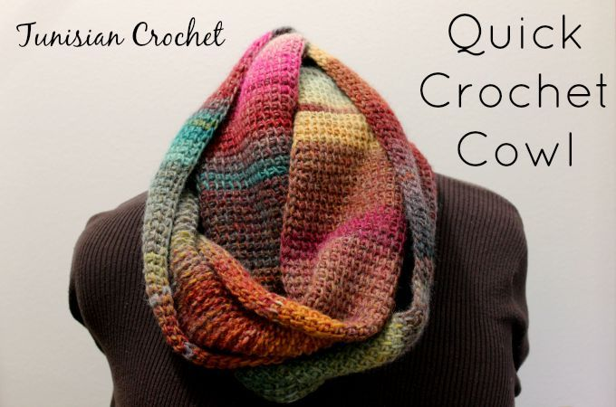Quick Tunisian Crochet Cowl. Step-by-step instructions to help you crochet one Tunisian Simple Stitch cowl using 2 skeins of Lion Brand Amazing Yarn.