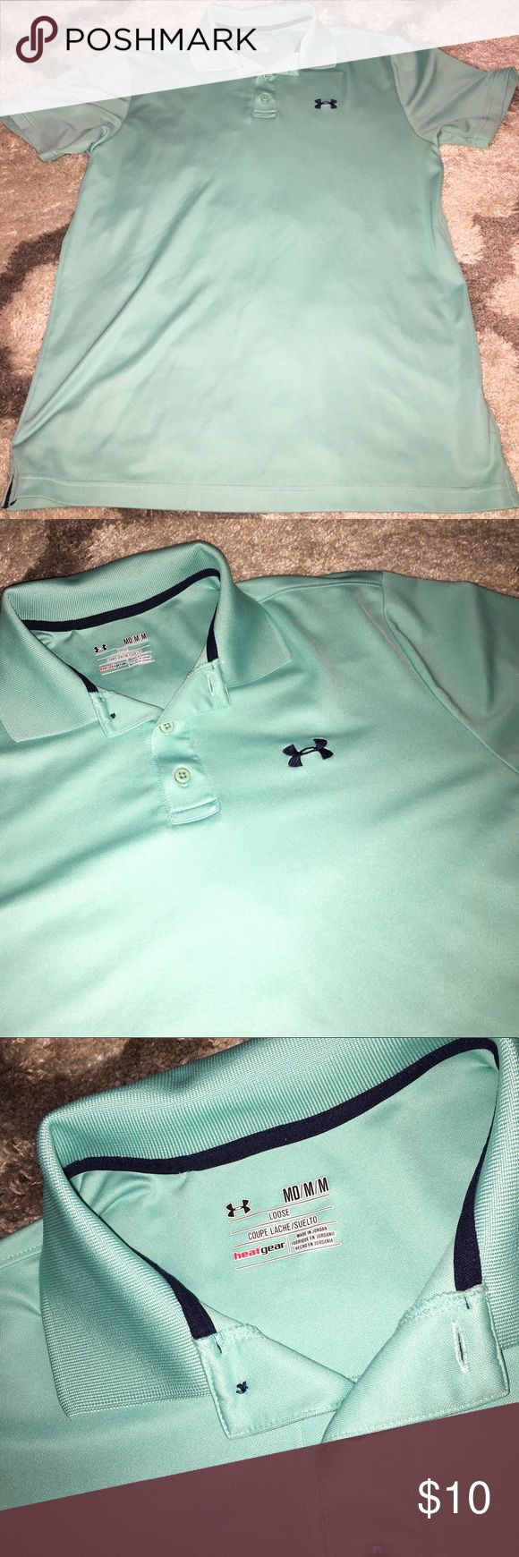 Under Armour Polo Dri fit Polo by Under Armour! It is in perfect condition! Mint green shirt with black logo. Under Armour Shirts Polos