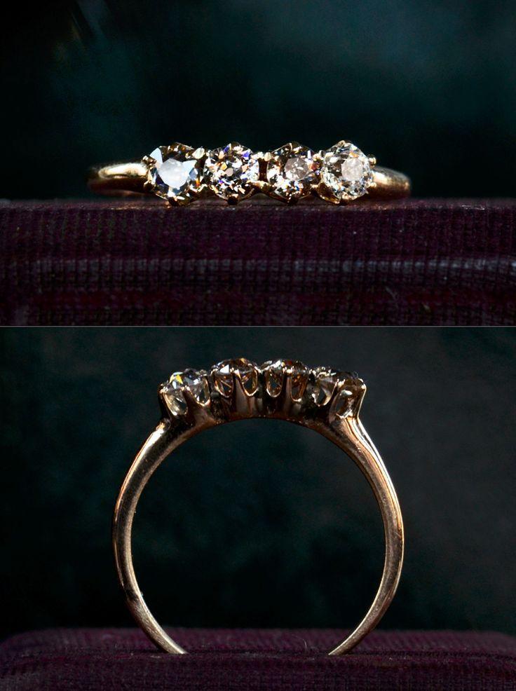 1890s Four Diamond Ring, ~0.50ctw Old European and Old Mine Cut Diamonds, 10K Gold, $1095 One of my favorite recent ring finds. It's ...