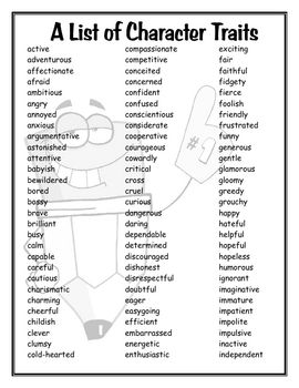 Free!!! Great resource for student's writing tools folders. This is a list of 174 different Character Traits.