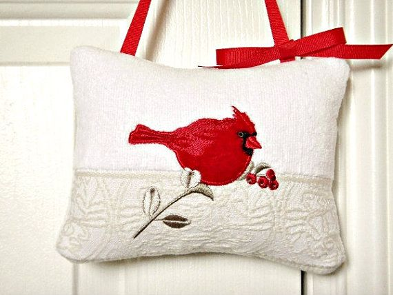 Christmas Bird Door Hanger Red Cardinal White  by PookieandJack, $10.00
