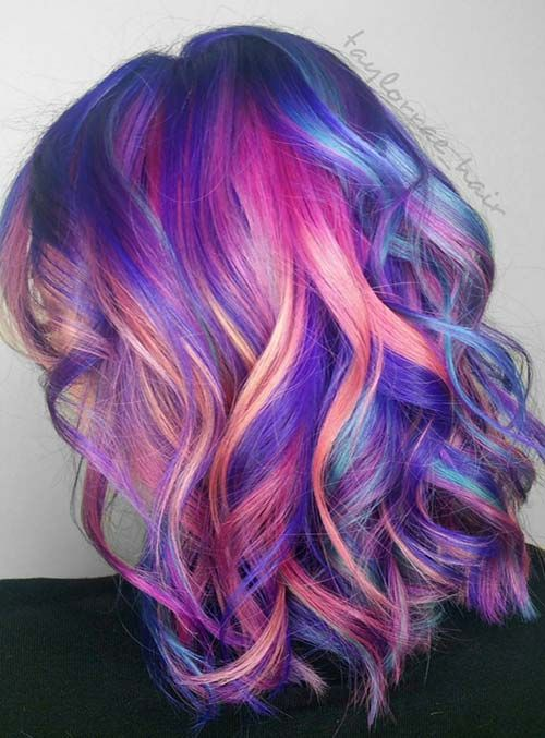 Pastel and Neon Hair Colors in Balayage and Ombre: Fuchsia Balayage Hair