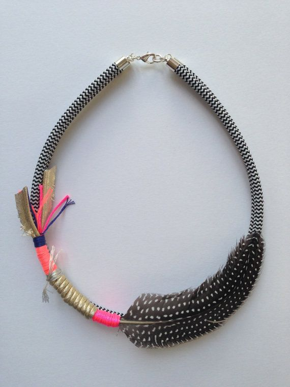 Be Quill My Heart feathered necklace neon pink on Etsy, $79.00 AUD