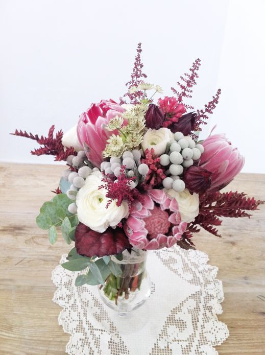 bridal bouquets with hybiscus   ... , Brunia, Hybiscus and Astilbe Wedding ...   Protea wedding flo