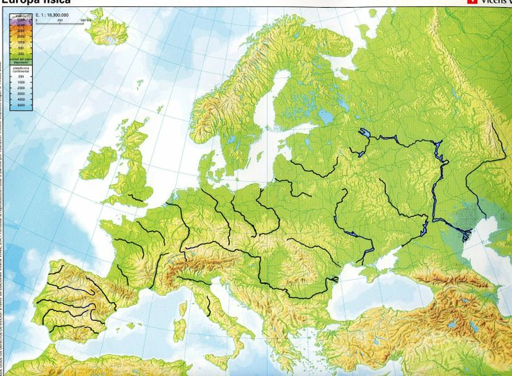 Blank Physical Map Of Europe With Rivers And Mountains