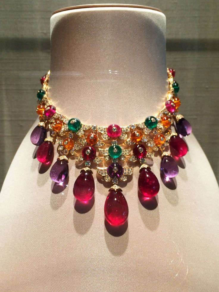 A mutli-color gem-set and pavé diamond necklace in yellow gold from Bulgari's new Musa high jewelry collection