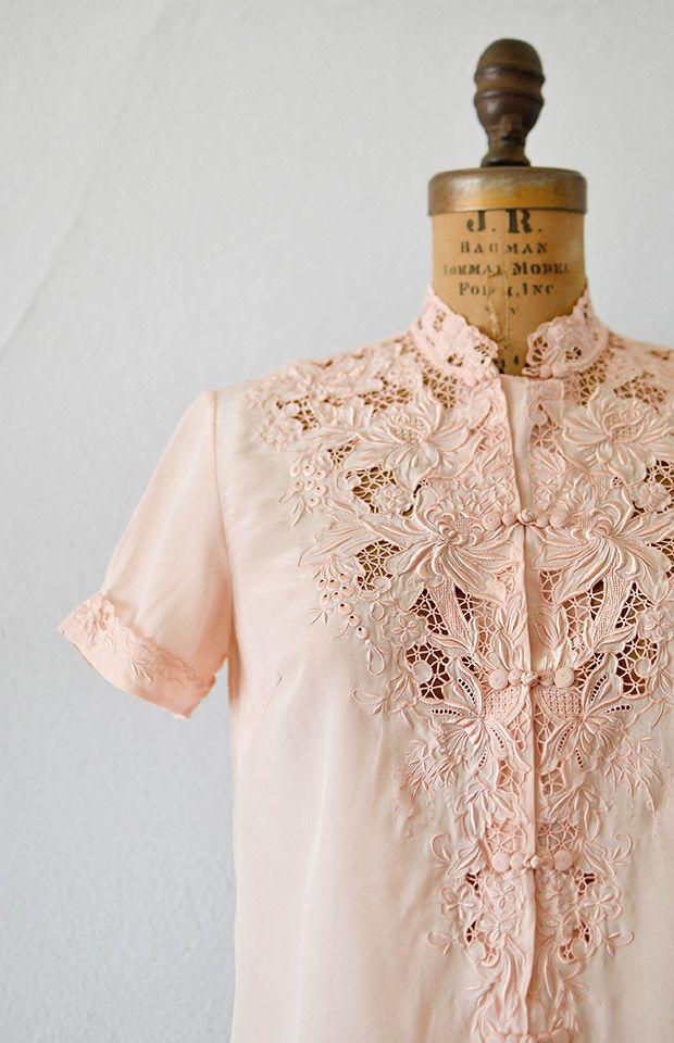 vintage 1950s pink silk embroidered mandarin blouse