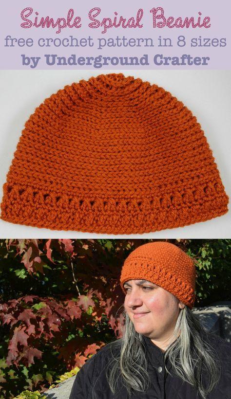 Simple Spiral Beanie, free #crochet pattern in 8 sizes | Crochet ...