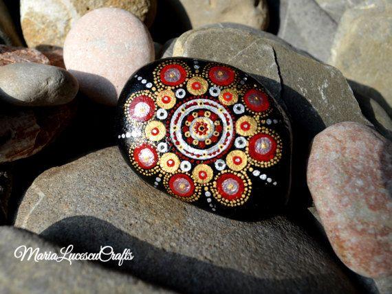 Hand-painted mandala on a river rock dot art by MariaLucescuCrafts