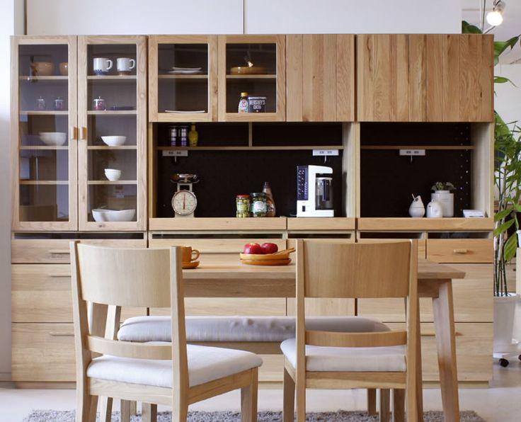 ナチュラル&シンプル 食器棚 ダイニングボード OCTA オクタ 70食器 キッチン収納家具