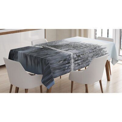 East Urban Home Ambesonne Woodland Tablecloth, Lake Surrounded By Snow Covered Trees On A Cold Winter Day In Finland Reflections, Rectangular Table Co