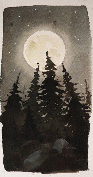 Original Watercolor Landscape - Moonlight Treeline.