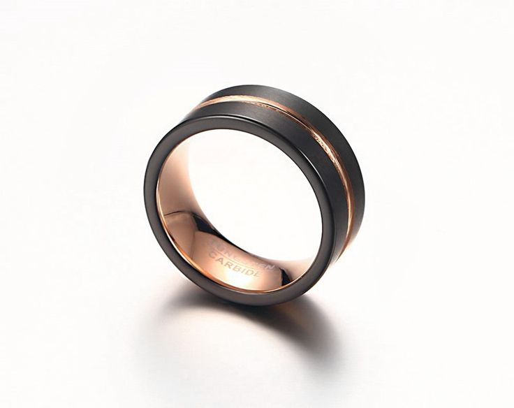 recommend Top Quality 8MM tungsten steel jewelry wholesale black rings for men & Charm ring Gold
