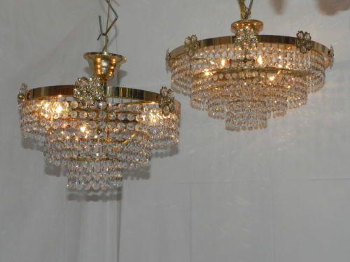 Toll PAAR Kristall Korb Lüster Kronleuchter Kristallglas Leuchter Plafoniere 2  STÜCK