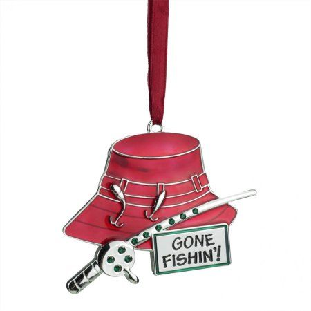 3.5 inch Regal Silver-Plated Red Fishing Holiday Ornament with European Crystals