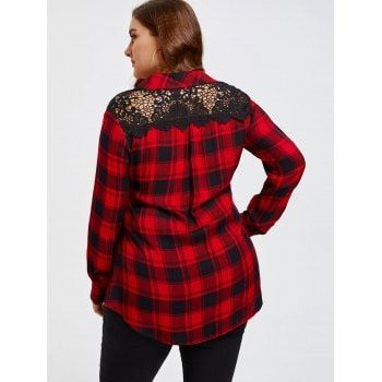 Lace Insert Back Plus Size Long Sleeve Shirt - BLACK/RED 5XL