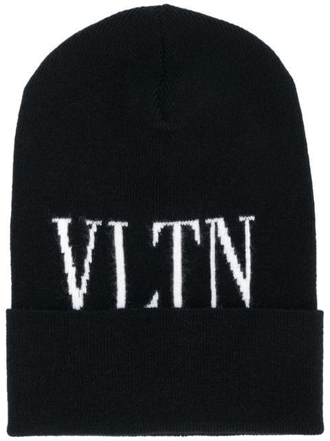 Shop Valentino logo knit beanie.  947c9066d2ad