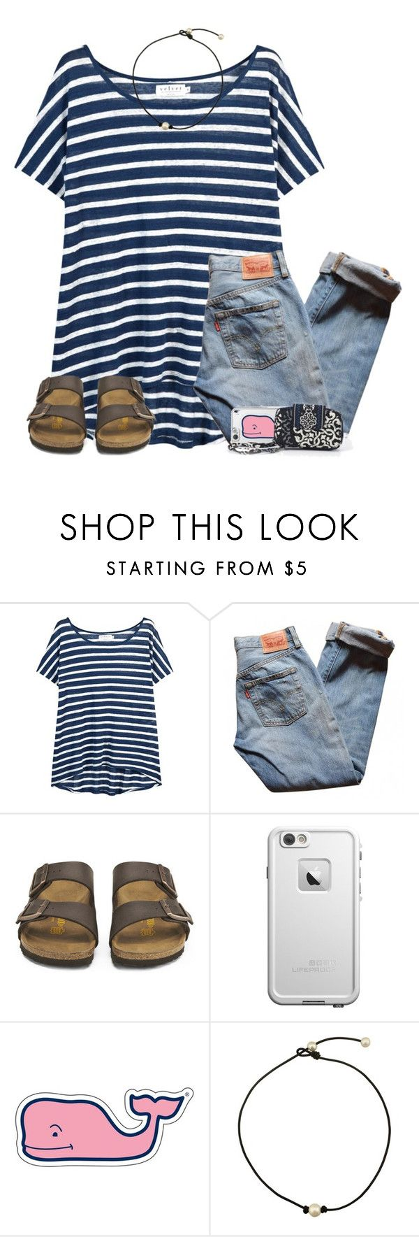 """""""this is my ootd. what's yours? ⬇️comment⬇️"""" by lydia-hh ❤ liked on Polyvore featuring Velvet, Levi's, Birkenstock, LifeProof, Vineyard Vines and Vera Bradley"""