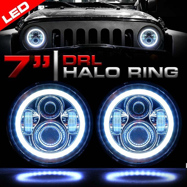 Chrome LED HALO RING headlights - Fits JK and TJ Wranglers