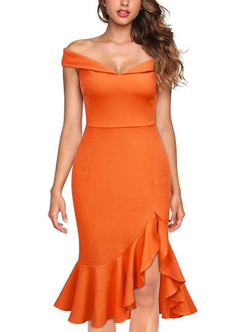 fdbbe87a6e Knitee Women s Off Shoulder Elegant Slim Style Evening Party Dress at  Amazon Women s Clothing store  Orange