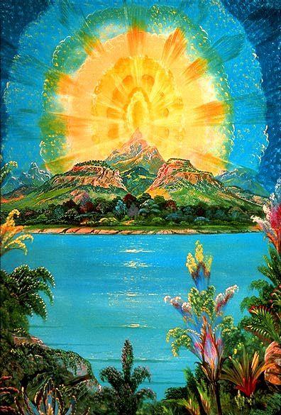 """Joseph Parker Visionary Art - """"Illumination on the Mountain Top"""""""