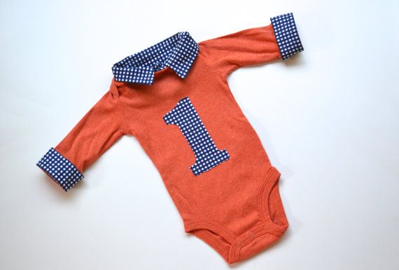 Baby Boy First Birthday Outfit, Preppy Baby Boy Collared Onesie, Navy Gingham and Orange Long Sleeve Button Down with Collar on Etsy, $34.00