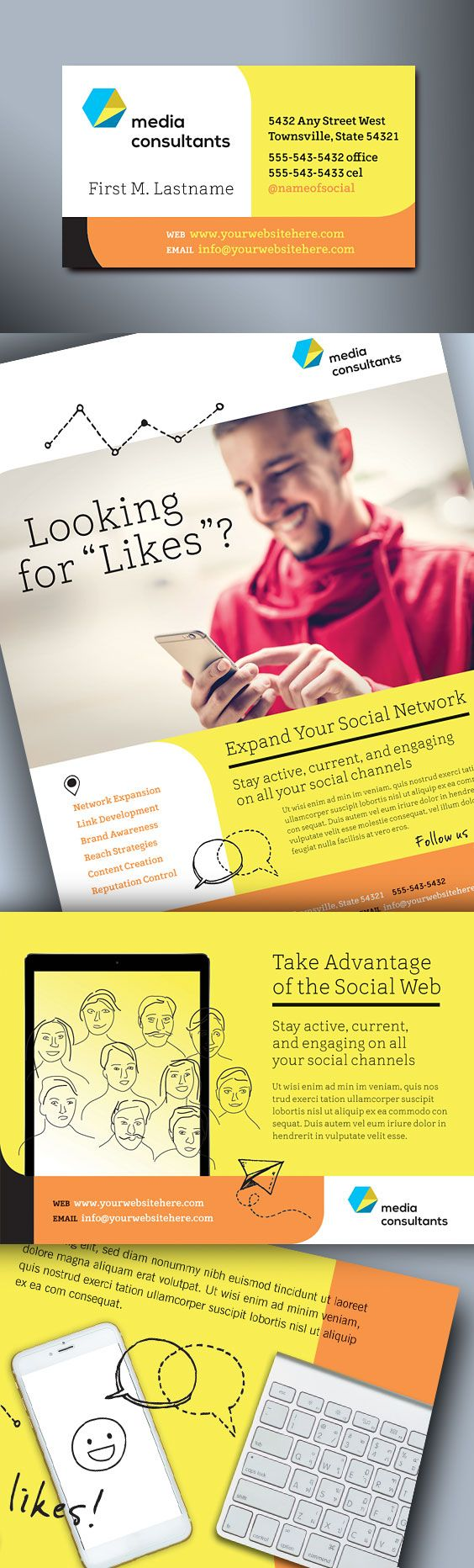 Graphic Design Templates for a social media consultant. www.stocklayouts.com