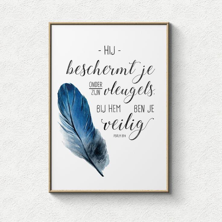 Poster: Hij beschermt je onder Zijn vleugels. Bij Hem ben je veilig.
