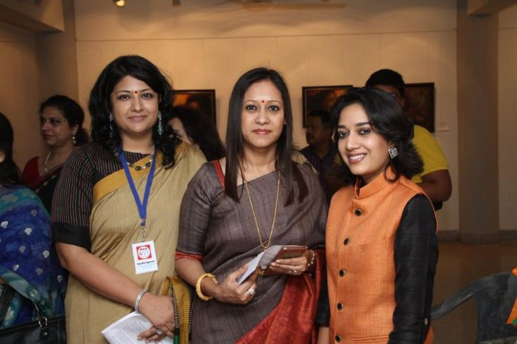 The three artists at the exhibition