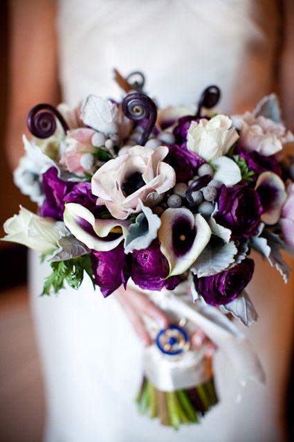 picasso calla, silver brunia, ranunculus Deep Purple Wedding Bouquet. Photo by Genevieve Leiper Photography